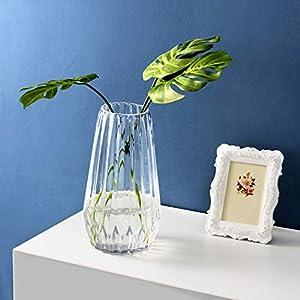 Silk Flower Arrangements MyGift 8-Inch Geometric Clear Glass Flower Vase, Wedding Centerpiece Decor