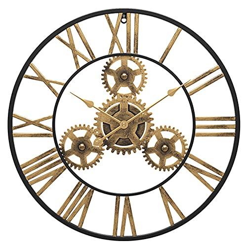 SOFACTY Grande Industriale Ingranaggio Orologio da Parete Numeri Romani Orologio da Parete Non Ticking Clock Gear Metallo Dorato per Bar Soggiorno Ristorante,60x60cm