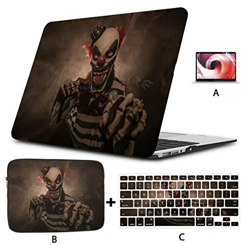 MacBook Pro Shell Case Evil Scary Clown Monster Laptop Protector Case Hard Shell Mac Air 11'/13' Pro 13'/15'/16' with Notebook Sleeve Bag for MacBook 2008-2020 Version