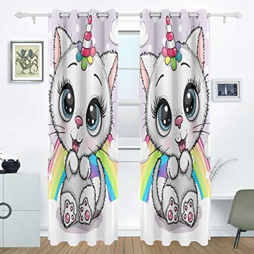 Ahomy Cortinas Opacas para Ventana con diseño de Gato y Unicornio arcoíris, Cortinas con Aislamiento térmico con Ojales para Dormitorio, 140 cm de Ancho x 213 cm de caída