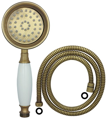 dirks-traumbad Duschkopf mit Schlauch 1,5m in Antik Brauns im Landhaus Stil für die Dusche oder Badewanne