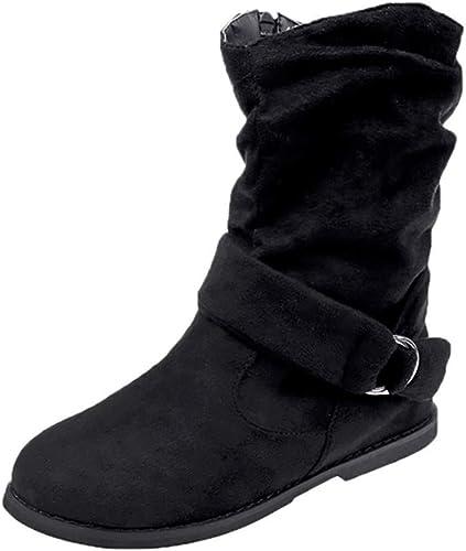 ZHRUI botas Planas de Gran tamaño de Estilo Vintage para mujer Calzado Suave Conjunto de pies Botines botas Medias (Color   negro, tamaño   4 UK)