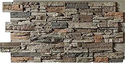 """Sedona Faux Stone Panels – Cambridge Gray - 1-Pack - Each Panel is 24"""" High x 48"""" Wide x 1 5/8"""" Thick - Highest Quality, Most Realistic Looking Panels on The Market"""