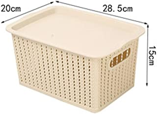 PPCP Household Rattan Plastic Storage Basket Desktop Storage Box (Color : Beige)