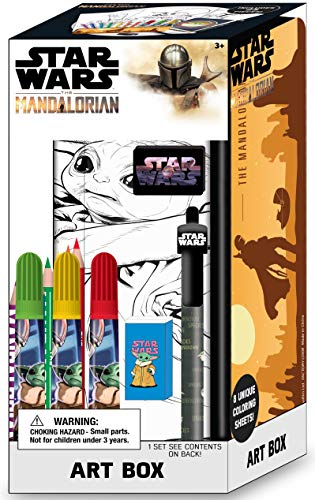 Innovative Designs Star Wars Mandalorian Baby Yoda Art Supplies Box with Pencil Case & Coloring Pages