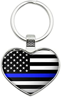 Thin Blue Line American Flag Heart Love Metal Keychain Key Chain Ring