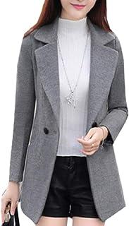 maweisong 女性の1ボタンラペル長い袖ウィンドブレーカーファッションフィットラップコート