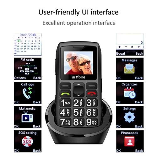 artfone C1+ Seniorenhandy ohne Vertrag | Dual SIM Handy mit Notruftaste | Rentner Handy große Tasten | 1400 mAh Akku Lange Standby-Zeit | Großtastenhandy mit Ladestation | 1,77 Zoll Farbdisplay - 2