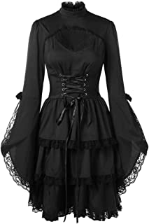 Women's Dresses,Venfamo Flare Sleeve Lace Patchwork Gothic Lolita Little Black Dress