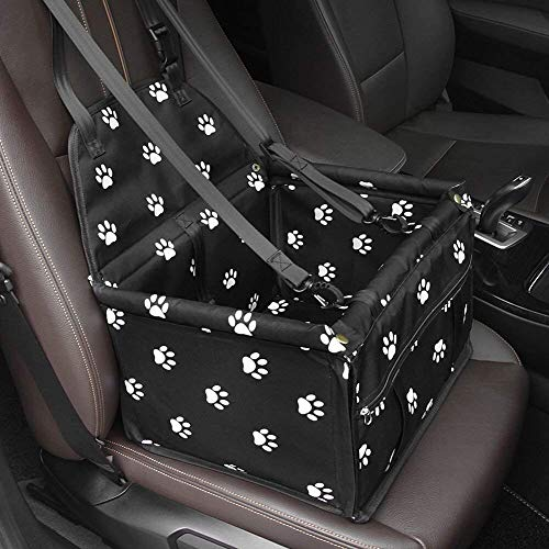 Dog Car Seat,GENORTH Upgrade Deluxe Portable Pet Dog Booster Car Seat with Clip-On Safety Leash and Dog Blanket,Perfect for Small and Medium Pets