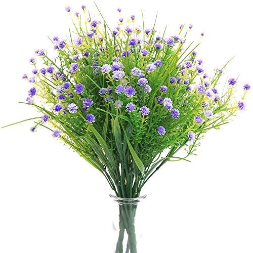 yueyue947 / Flores Artificiales Gypsophila Aliento del bebé Plantas de Agua Falsas Ramo 6 Paquetes Plantas Falsas Ramo de Novia de la Boda Oficina en el hogar al Aire Libre6pcs-púrpura