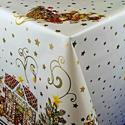 KEVKUS Wachstuch Tischdecke Meterware K23A Weihnachten Geschenke Bordürenmuster weiß wählbar in eckig rund oval (Rand: Schnittkante (ohne Einfassung), 120 x 140 cm eckig)
