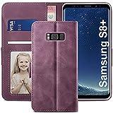YATWIN Handyhülle Samsung Galaxy S8 Plus Hülle, Klapphülle Samsung Galaxy S8 Plus Premium Leder Brieftasche Schutzhülle [Kartenfach] [Magnet] [Stand] Handytasche Hülle für Samsung Galaxy S8+, Weinrot