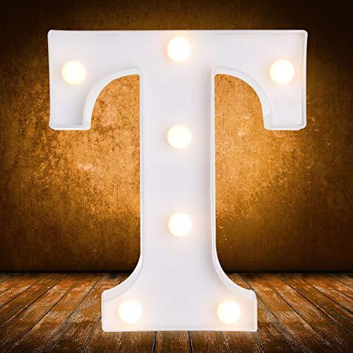 Señal de Luces LED de Números Letras con Control Remoto Inalámbrico para Interruptor para Boda Cumpleaños Navidad Decoración de Hogar Bar (Letra T)