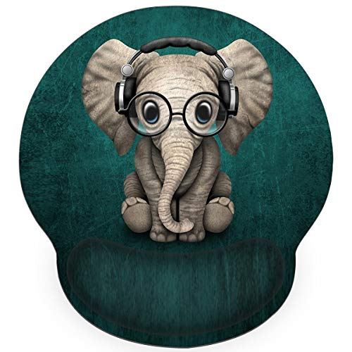 Britimes Ergonomic Mouse Pad with Wrist Support Green Cute Elephant Music Non-Slip Rubber Base Mousepad for Home Office Gaming Working Computers Laptop Easy Typing & Pain Relief