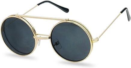 c4e257dd77c Round Circular Django Flip-Up Steampunk Inspired Metal Two in One Sunglasses