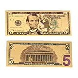 Trinkle 5 Dollar Commemorative Collectible Premium Replica Paper Money Bill 24k Gold Plated Fake Currency Banknote Art Holiday Decoration