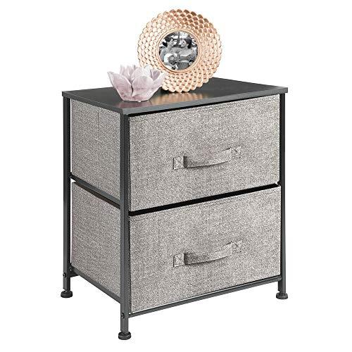 mDesign Mesita de noche con 2 cajones – Cómoda pequeña hecha de tela, metal y MDF – Decorativas cajoneras para armarios, para el dormitorio o el salón – gris/negro