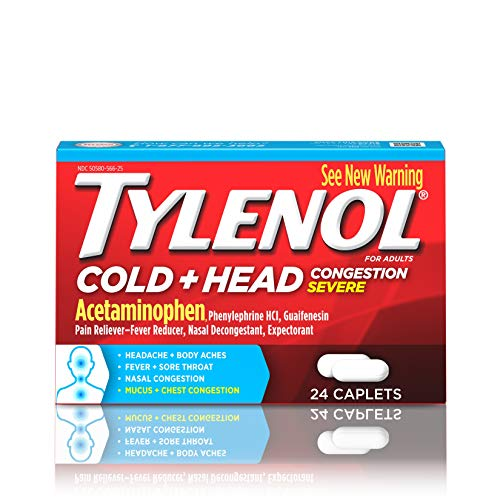 Tylenol Cold + Head Congestion Severe Medicine Caplets for Fever, Pain & Congestion Relief, 24 ct.