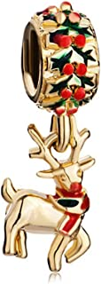 Charmed Craft Enamel Green or Gold Plated Rudolph Reindeer Charms Christmas Charms for Bracelets