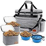 PUEIKAI Hunde Reisetasche, Haustier Tragetasche mit Multifunktions Taschen für Hundezubehör, Leckereien, Spielzeug, mit 2 Vorratsbehälter und 2 Faltbare Hundenapf, ideal für Reisen, Camping