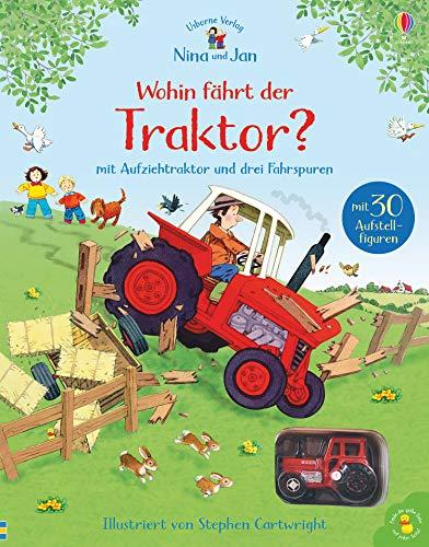 Nina und Jan: Wohin fährt der Traktor?: mit Aufziehtraktor und drei Fahrspuren