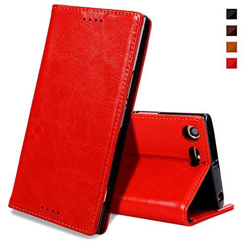 Sony XZ Premium Handyhülle,Sony XZ Premium Hülle,EATCYE [Echt Leder] Handyhülle Extra Dünn Brieftasche Lederhülle Schutzhülle [Versteckt MAGNET] Echt Leder Brieftasche Hülle für Sony XZ Premium (Rot)
