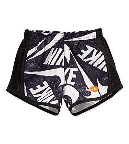 Nike Girl`s Dri-Fit Logo Printed Tempo Running Shorts (Black(26G005-023)/White, 2T)