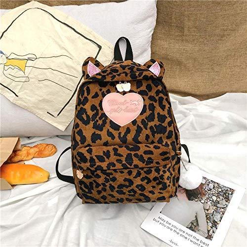 Mochila escolar Estampado De Leopardo Estampado De Leopardo Mochila para Mujer Orejas De Gato Bordadas con Corazón Bolso De Hombro Mochila De Viaje De Pana Bola De Pelo Mochila Mochila