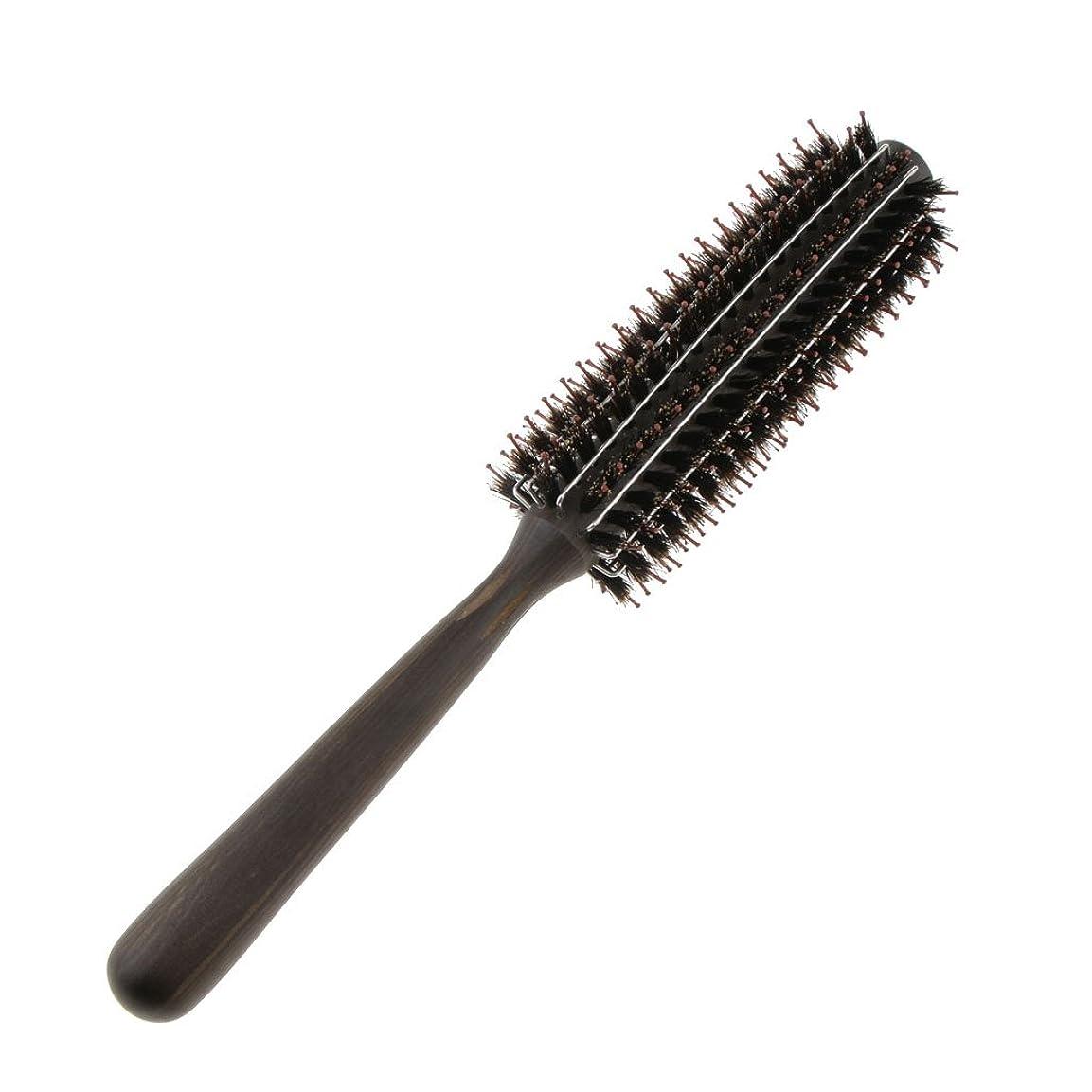 で出来ている有料返済Fenteer ロールブラシ カール 巻き髪 ヘア ブラシ ロール ヘアコーム 木製ハンドル 3サイズ選べる  - M