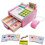 Caja Registradora de Juguete Madera Supermercado de Juguetes con Escáner y Lector de Tarjetas Conjunto de Accesorios de Tienda Juegos de Imitación Juguetes Niños 3 4 5 6 Nños