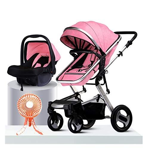 JIAX Cochecito Bebe Silla Paseo Sistema De Viaje con Ventilador para Bebés   Incluye Cochecito Liviano Y Asiento Infantil para Automóvil, Carritos De Paseo Plegables Compactos (Color : Silver Red)