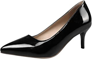 0d0bb9e405 Agodor Women's Stiletto Mid Heels Patent Leather Pumps Slip on Pointed Toe  Elegant Shoes