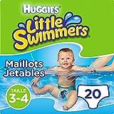 Huggies Maillots de bain jetables pour bébés, Taille 3-4 (7-15 kg), 20 couches-culottes, Unisexe, Maxi pack, Little Swimmers
