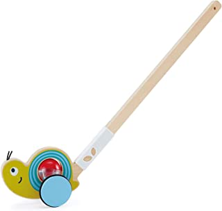 Hape Snail Push Pal | Wooden Push Along Ball Rattle, Baby Walker Push Toy for Children 12 Months and Up