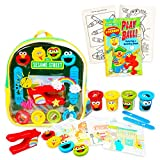 Sesame Street Backpack Art Supplies Set - Deluxe 11' Mini Elmo Activity Clear Backpack with Dough, Molds, Activity Sheets, and Bonus Coloring Book (Sesame Street School Supplies)