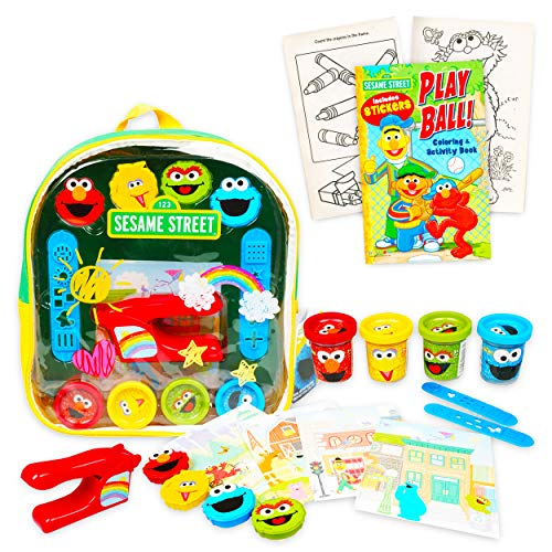 Sesame Street Backpack Art Supplies Set -- Deluxe 11' Mini Elmo Activity Clear Backpack with Dough, Molds, Activity Sheets, and Coloring Book (Sesame Street School Supplies)