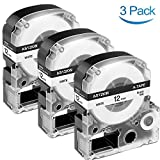 3-Pack Compatible Label Tape Replacement for Epson LK-4WBN (SS12KW) Label Tape Cartridges, 1/2'' Standard LK (LC) Black on White Tape for Epson LabelWorks LW-400, LW-300, LW-600P, LW-700 Label Printer
