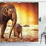 N\A Zoo Duschvorhang, Mutter & Baby Elefantenfamilie in Kenia Safari Landschaft Umgebung, Stoff Stoff Badezimmer Dekor Set mit Haken, Orange
