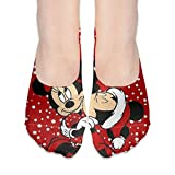 CFECUP Women No Show Socks Micky Mouse and Minnie Xmas Non Slip Low Cut Boat Sock