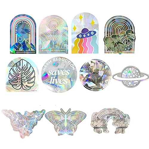 11 pcs Rainbow Suncatcher Sticker, Sun Catcher Sticker Rainbow For Indoor Car Holographic Decorative Prismatic Window Decals Rainbow Prism Vinyl Film Anti-Collision Non-Adhesive
