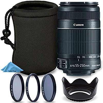 Canon EF-S 55-250mm F4-5.6 is Mark II Lens for Canon SLR Cameras + Tulip Lens Hood + 3 Piece Multi-Coated Filter Kit + Neoprene Protective Lens Pouch Travel Bundle from Digital Village