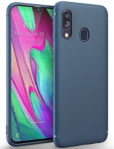 BENNALD Funda Compatible con Samsung Galaxy A40, TPU Silicona Fundas Carcasa táctil Funda Mate Funda TPU Suave y Flexible Carcasa para Samsung Galaxy A40- Azul Oscuro