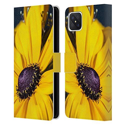 Head Case Designs Licenciado Oficialmente PLdesign Margarita Flores Y Hojas Carcasa de Cuero Tipo Libro Compatible con OPPO Reno4 Z 5G