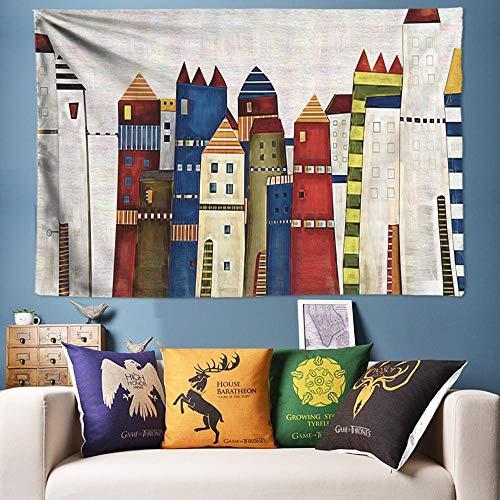 AdoDecor Tapiz con Estampado de Ciudad Moderno Colgante de Pared Decorativo Simple Tapices de Pared nórdicos Colcha Manta Alfombra Hogar Dormitorio Dormitorio Decoración 40x60 Pulgadas