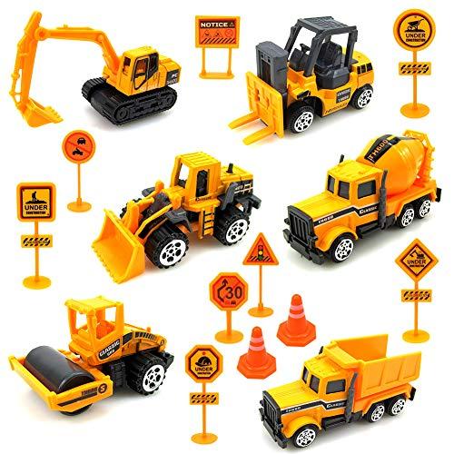 Sunarrive Baustellenfahrzeuge mit Baustellenschild - Baufahrzeuge Mini Bagger - Baustelle Fahrzeuge Minibagger - Spielzeugauto Set - Kleine Spielzeug Auto für Kinder Junge Mädchen ab 3 Jahre