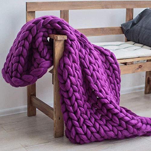 ASY Manta de punto gruesa hecha a mano para tejer, manta gigante, suave, gruesa, supersuave, manta para sofá, manta para mascotas, decoración de dormitorio, color morado,60x 80 cm