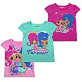Nickelodeon Shimmer and Shine Girls and Toddlers 3-Pack T-Shirts, Pink, 3T
