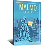 Vintage-Reise-Poster, Malmo, Schweden, Leinwand,