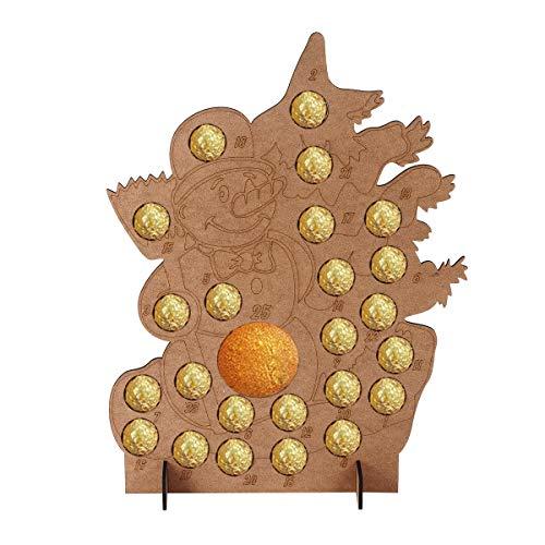 ExcLent Calendario De Adviento De Navidad De Madera Muñeco De Nieve Chocolates Caja De Almacenamiento Naranja Decoraciones De Regalo De Navidad